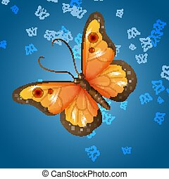 beautiful bright multicolored butterfly on background. Card. Vector