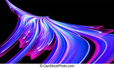 Beautiful bright purple pink abstract energy magical cosmic fiery texture, phoenix bird from lines and stripes, waves, flames with twists and turns on a black background. Copy space. Vector