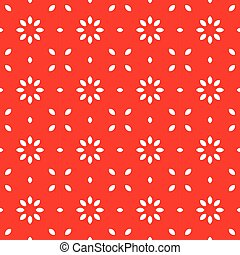 Beautiful bright red floral geometric vector pattern background.