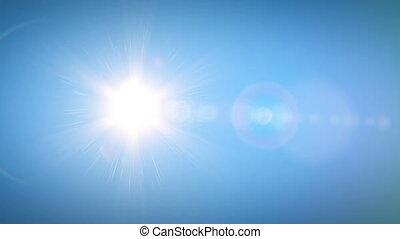Beautiful Bright Sun Shining Moving Across the Clear Blue Sky from Morning till Evening in Time-Lapse. 3d Animation with Flares. Nature and Weather Concept. 4k UHD 3840x2160.