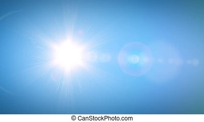 Beautiful Bright Sun Shining Moving Across the Clear Blue Sky in Time-Lapse. 3d Animation with Flares. Nature and Weather Concept. 4k UHD 3840x2160.