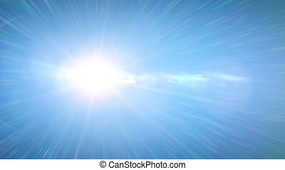 Beautiful Bright Sun Shining Moving Across the Clear Blue...