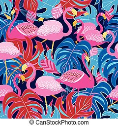 Beautiful bright tropical pattern of pink flamingos