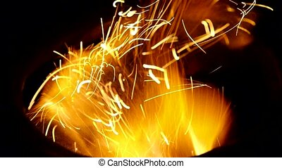 Beautiful brilliant flame,fly line,particle.