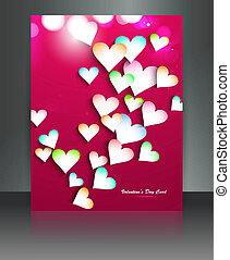 Beautiful brochure colorful hearts Valentines Day card illustration