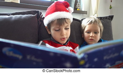Beautiful brothers reading a story, Christmas day