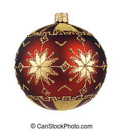 beautiful brown christmas ball with snowflakes