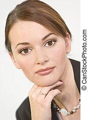 Beautiful Brown Eyes - Studio portrait of a beautiful young...