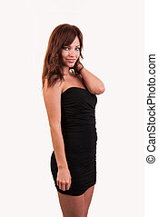 beautiful brown hair woman in elegant black dress, studio shot