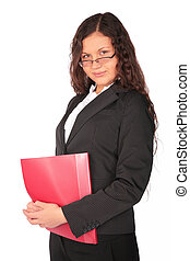 beautiful brown-haired woman with red folder