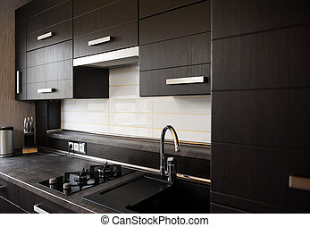 beautiful brown kitchen in a modern style