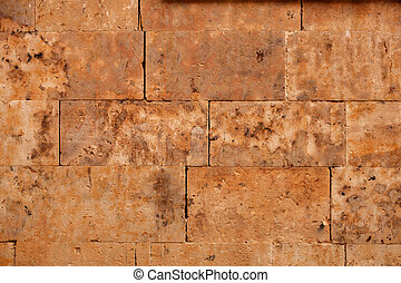 Beautiful brown wall with rectangular stones