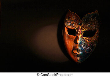 Beautiful Brown Wood Mask In Dramatic Spot Light