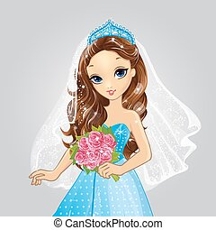 Beautiful Brunette Bride Princess