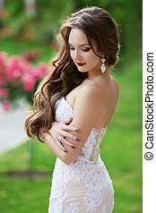 Beautiful brunette Bride Wedding Portrait,