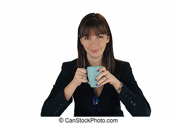 Beautiful Brunette Businesswoman with Coffee (2)