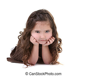 Brunette Child Looking at the Viewer on White Background