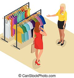 Beautiful brunette doing shopping in clothes store. Shopping time. Woman at the checkout makes shopping. Flat 3d isometric vector illustration for infographic.