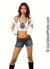 Beautiful brunette - Full body of a young brunette Cambodian...