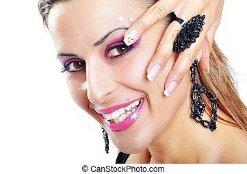 Beautiful Brunette Girl and Hand. Fashion Model Girl Portrait. B
