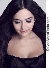Beautiful Brunette Girl, eyeshadow make up