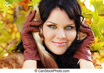 Beautiful brunette Girl face. lady smiling outdoor portrait. Perfect skin concept