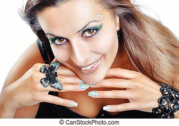 Beautiful Brunette Girl. Fashion Model Girl Portrait. Black Jewe