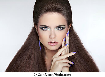 Beautiful Brunette Girl. Healthy Long Hair. Professional makeup.