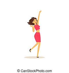 Beautiful brunette girl in dancing move. Cheerful female character having fun at party. Woman dancer dressed in pink skirt and shirt. Isolated flat vector