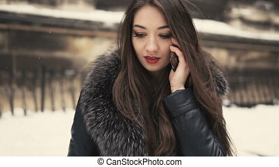 Beautiful Brunette Girl Phone Talking