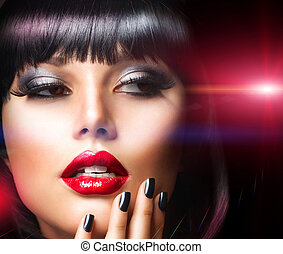Beautiful Brunette Girl Portrait. Face. Makeup. Sensual Red...