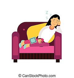 Beautiful brunette girl sleeping on armchair, relaxing person cartoon vector illustration