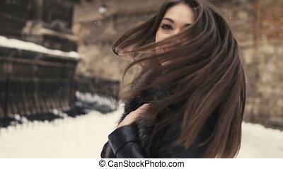 Beautiful Brunette Girl Snowy Walking