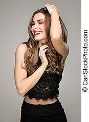 Beautiful brunette girl with big smile.