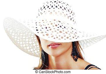 Beautiful Brunette Girl with Hat. Fashion Model Girl Portrait. B