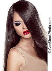 Beautiful Brunette Girl with Healthy Long Hair and Red Lips.  Fashion Model Woman with Long Healthy Brown Hair Isolated on white background.