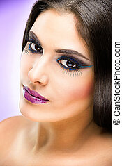 Beautiful Brunette Girl with luxury makeup