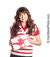 Beautiful brunette girl with present box.