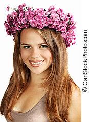 brunette in a wreath