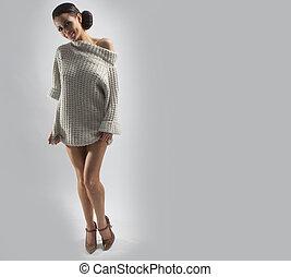 beautiful brunette in jumper