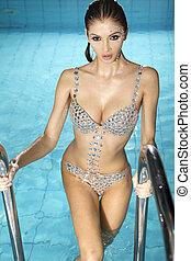 beautiful brunette in swimming pool