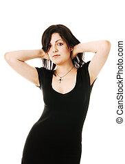 Beautiful brunette isolated on white background