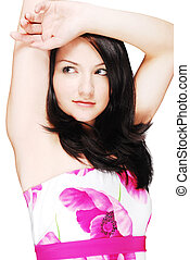 Beautiful brunette isolated on white - Beautiful brunette in...