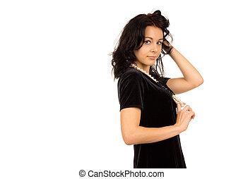 Beautiful brunette isolated on white - Studio shot of...