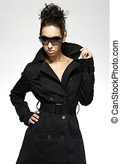 beautiful brunette model with sunglasses - beautiful young ...
