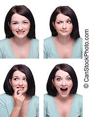 Beautiful Brunette Passport Photo Style Range Of Expressions...