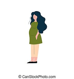 Beautiful Brunette Pregnant Woman, Happy Pregnancy, Maternal Health Care Vector Illustration