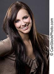 beautiful brunette - pretty European model with long brown ...