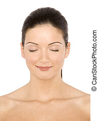 beautiful brunette - pretty female model smilling on white ...
