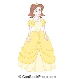 Beautiful brunette princess, naughty princess in yellow dress